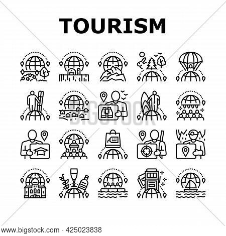 Tourism Travel Types Collection Icons Set Vector. Cultural And Nature, Air And Ski Sport, Yacht And