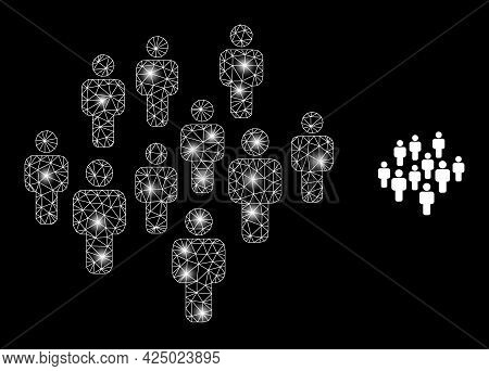 Glamour Mesh Vector People Crowd With Glare Effect. White Mesh, Glare Spots On A Black Background Wi