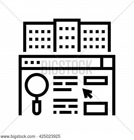 Real Estate Market Researching Line Icon Vector. Real Estate Market Researching Sign. Isolated Conto