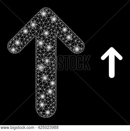 Glamour Mesh Vector Arrow Up With Glare Effect. White Mesh, Glare Spots On A Black Background With A
