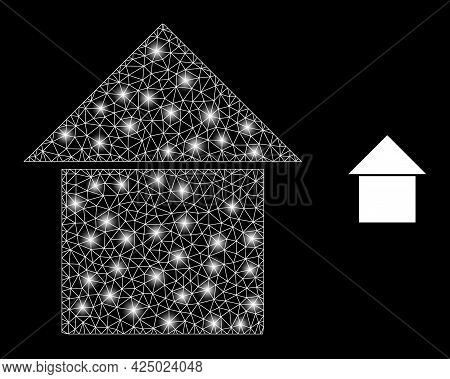 Magic Mesh Vector House With Glare Effect. White Mesh, Glare Spots On A Black Background With House