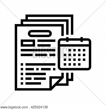 Audit Of Annual And Consolidated Financial Statements Line Icon Vector. Audit Of Annual And Consolid