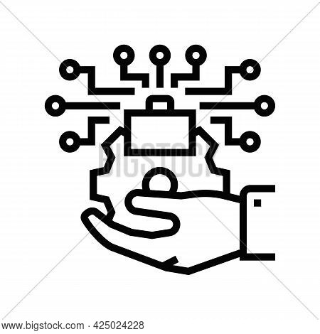 Promoting Technology Commercialization Line Icon Vector. Promoting Technology Commercialization Sign