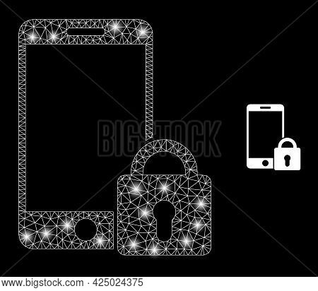 Glossy Mesh Vector Locked Smartphone With Glare Effect. White Mesh, Bright Spots On A Black Backgrou