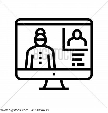 Grandmother Video Call With Grandson Line Icon Vector. Grandmother Video Call With Grandson Sign. Is