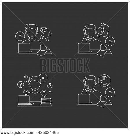 Procrastination Chalk Icons Set. Perfectionist, Dreamer, Overdoer Procrastinator. Overwhelmed Concep