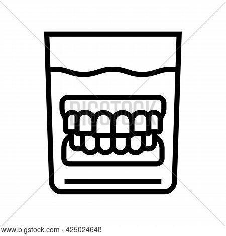 False Jaw In Glass Line Icon Vector. False Jaw In Glass Sign. Isolated Contour Symbol Black Illustra