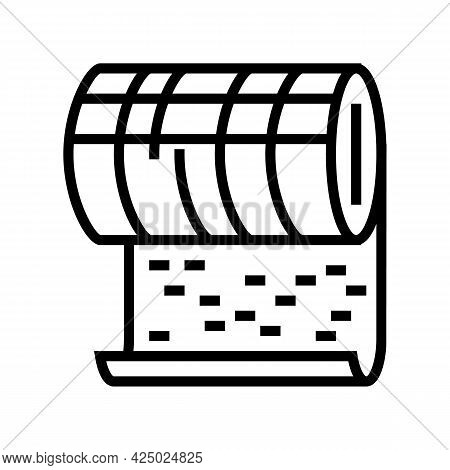 Metallic Mineral Wool Roll Line Icon Vector. Metallic Mineral Wool Roll Sign. Isolated Contour Symbo