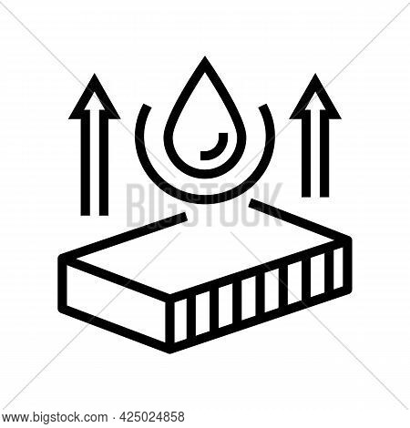 Hydrophobicity Mineral Wool Line Icon Vector. Hydrophobicity Mineral Wool Sign. Isolated Contour Sym