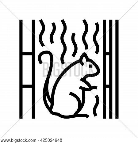 Rat Living In Cotton Wool In Wall Line Icon Vector. Rat Living In Cotton Wool In Wall Sign. Isolated