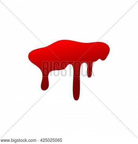 Blood Drip Cartoon. Halloween Bloodstain Isolated White Background. Splatter Stain. Horror Drop Flow