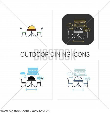 Outdoor Dining Icons Set. Personal Dinner In Restaurant Outdoor.forced Distance. Restaurants New Nor
