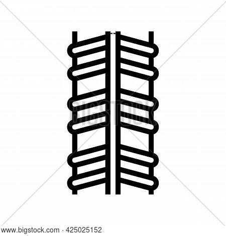 Stainless Rebar Line Icon Vector. Stainless Rebar Sign. Isolated Contour Symbol Black Illustration