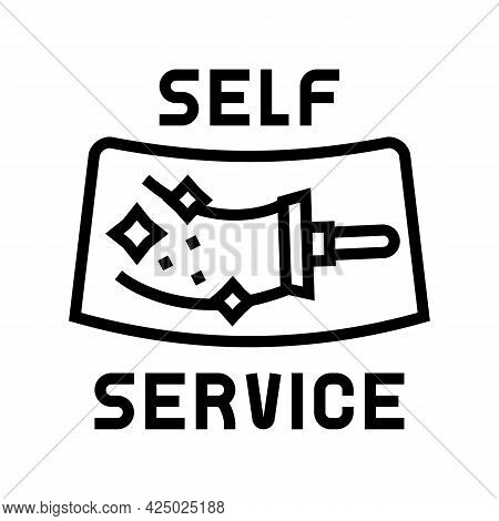 Cleaning Windows Self Car Wash Service Line Icon Vector. Cleaning Windows Self Car Wash Service Sign