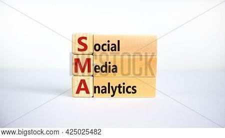 Sma Social Media Analytics Symbol. Wooden Blocks With Word 'sma Social Media Analytics' On Beautiful