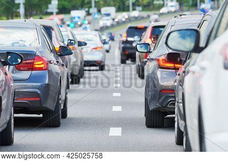 traffic jam in a city street road