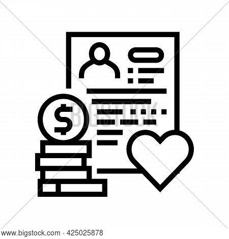 Adoption Cost Line Icon Vector. Adoption Cost Sign. Isolated Contour Symbol Black Illustration