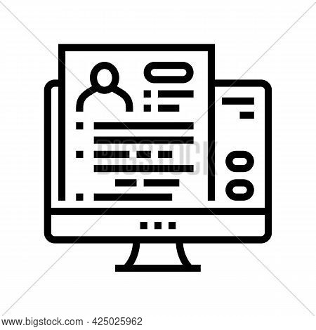 Apply Online Adoption Line Icon Vector. Apply Online Adoption Sign. Isolated Contour Symbol Black Il