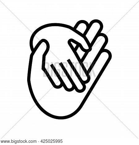 Child Care Adoption Line Icon Vector. Child Care Adoption Sign. Isolated Contour Symbol Black Illust