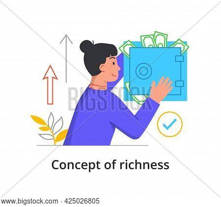 Richness Concept. A Rich Greedy Woman Hides Money In A Safe. Spend, Save, Waste Money Idea. Rich Per