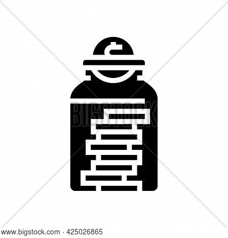 Coin Collect In Bottle Glyph Icon Vector. Coin Collect In Bottle Sign. Isolated Contour Symbol Black