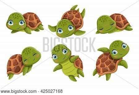 Cute Cartoon Smiling Turtles. Funny Little Animals, Walking, Swimming, Sleeping. Friendly Aquatic An