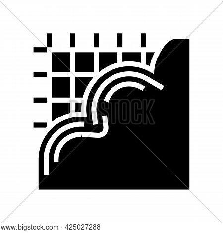 Pouring Concrete Floor Glyph Icon Vector. Pouring Concrete Floor Sign. Isolated Contour Symbol Black