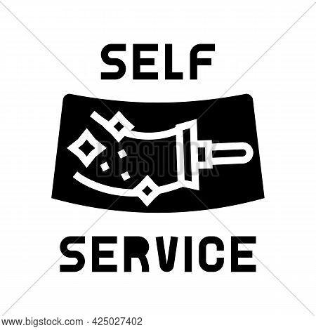 Cleaning Windows Self Car Wash Service Glyph Icon Vector. Cleaning Windows Self Car Wash Service Sig