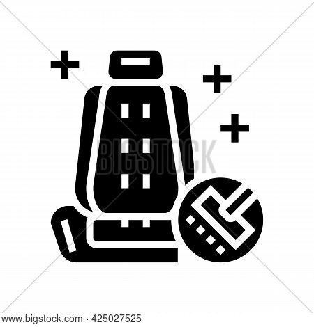 Chair Seat Cleaning Car Wash Service Glyph Icon Vector. Chair Seat Cleaning Car Wash Service Sign. I