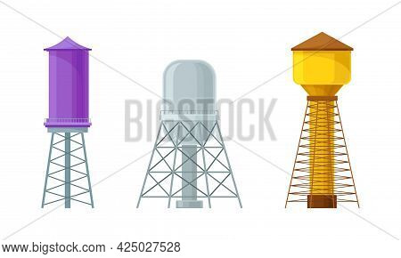 Elevated Water Tower Or Tank Made Of Metal For Storing Water Vector Set