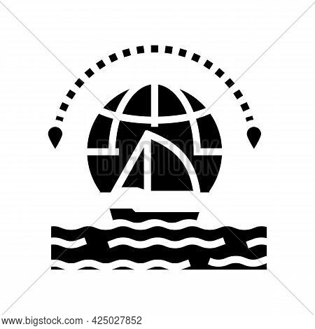 Yacht Tourism Glyph Icon Vector. Yacht Tourism Sign. Isolated Contour Symbol Black Illustration