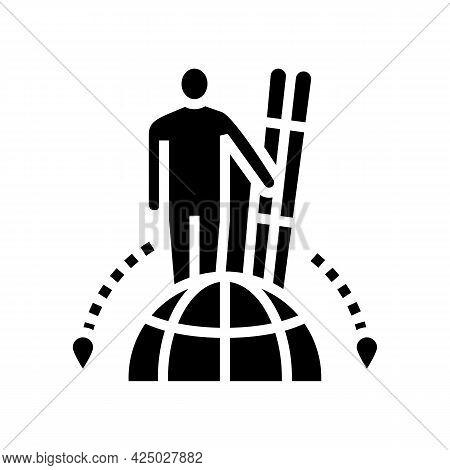 Ski Tourism Glyph Icon Vector. Ski Tourism Sign. Isolated Contour Symbol Black Illustration