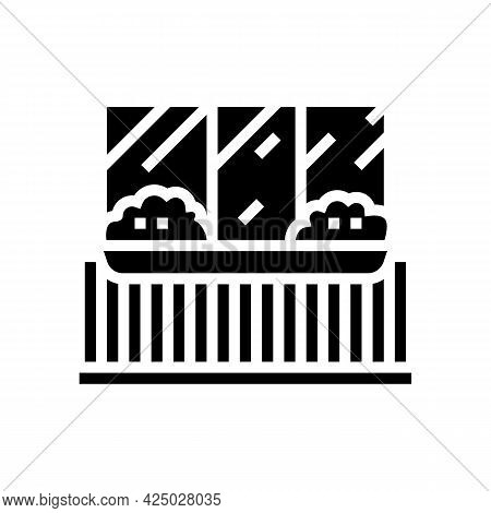 Plant On Balcony Glyph Icon Vector. Plant On Balcony Sign. Isolated Contour Symbol Black Illustratio