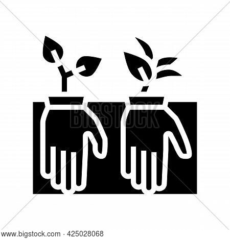 Plant Growing From Gloves Glyph Icon Vector. Plant Growing From Gloves Sign. Isolated Contour Symbol