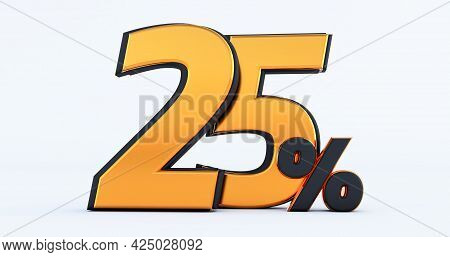 Twenty Five 25% Off On Sale. Gold Percent Isolated On White Background. 3d Render Of A Gold  Twenty