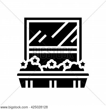 Growing Domestic Plant On Window Sill Pot Glyph Icon Vector. Growing Domestic Plant On Window Sill P