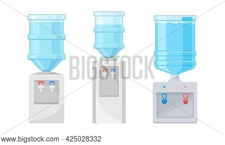 Dispenser Or Water Cooler With Drinking Purified Water Vector Set