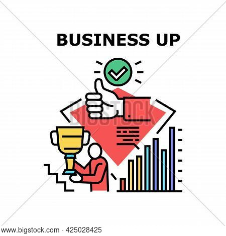 Business Up Vector Icon Concept. Growth Financial Profit And Indicator, Successful Goal Achievement