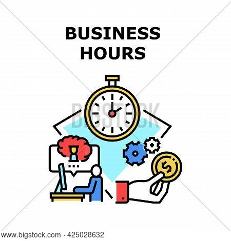 Business Hours Vector Icon Concept. Business Hours Of Work Company And Deadline For Project, Working