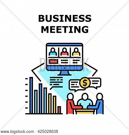 Business Meeting Vector Icon Concept. Online Business Meeting And Remote Conference With Colleagues