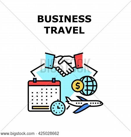 Business Travel Vector Icon Concept. Business Travel On International Conference Or Meeting With Par