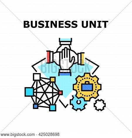 Business Unit Vector Icon Concept. Businesspeople Putting Hands Together And Working On Project, Bus