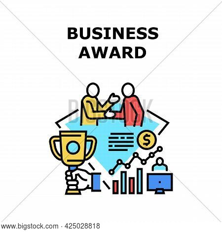 Business Award Vector Icon Concept. Business Award For Win In Company Project Competition, Success G