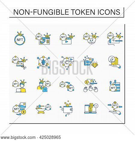 Nft Color Icons Set. Non Fungible Token. Unique Digital Assets. Digitalization Concept. Isolated Vec