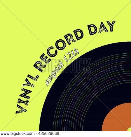 Vinyl Record On A Yellow Background. Holiday Day Of Vinyl Records. Vector