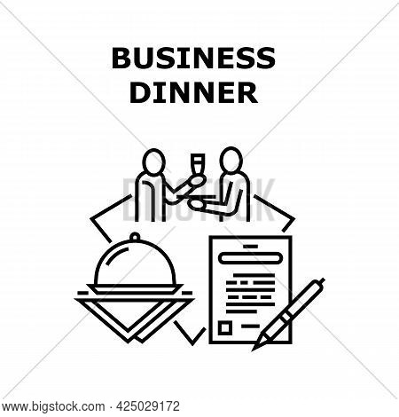 Business Dinner Vector Icon Concept. Discussing Contract Terms And Signing Agreement On Formal Busin