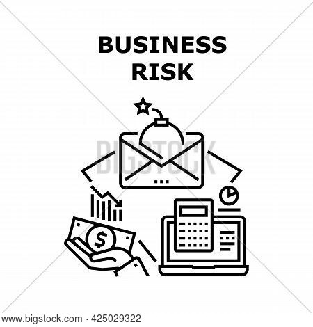 Business Risk Vector Icon Concept. Business Risk Of Decrease Financial Market Rate, Calculating Fina