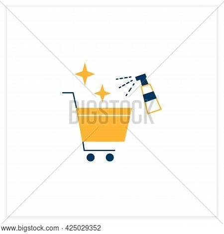 Cleaning Shopping Cart Flat Icon. Handels Disinfecting. Public Spaces Disinfecting. Safety Space And