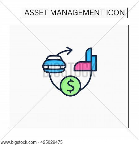 Assets Expected Life Cycle Color Icon. Stages Series Assets Management. Estimated Useful Life, Total