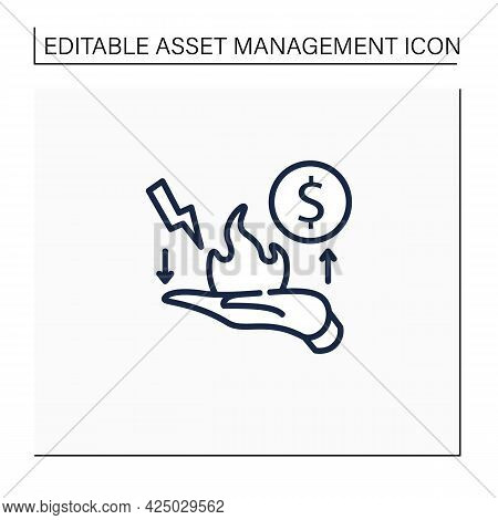 Risk Management Line Icon. Identification, Evaluation And Risk Prioritization. Hand In Fire. Help To
